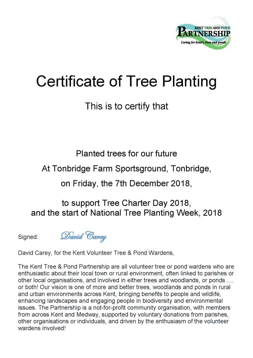 Tree Planting certificates blank